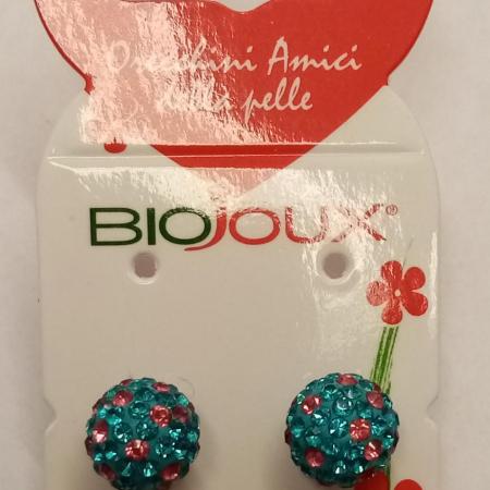 Biojoux - Orecchini pallina cielo/rosa (10 millimetri)