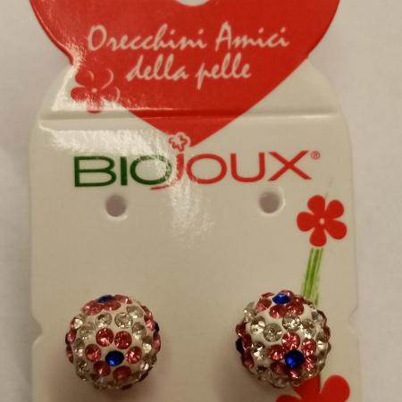 Biojoux - Orecchini pallina con fiore fucsia (10 millimetri)