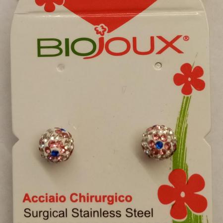 Biojoux - Orecchini pallina con fiori fucsia (6 millimetri)