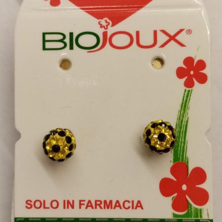 Biojoux - Orecchini pallina giallo/nero (6 millimetri)